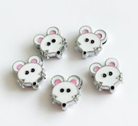Wholesale dog collars 8mm - 10PCs 8MM Enamel Mouse Slide Charms Letters DIY Accessories Fit 8mm Wristband Pet Dog Name Collars Belts Phone Strips