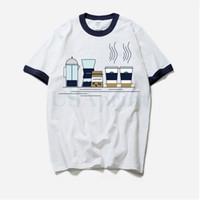 camisa de café divertida al por mayor-Ropa de moda Vintage Coffee T Shirt Hombres Funny Art Print Tee Fitted Cotton Summer Clothing manga corta camiseta Homme 2018
