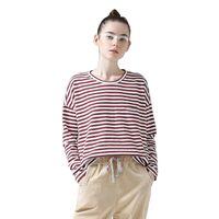 frauen langarmhemd muster großhandel-Frauen T-Shirts Batwing Long Sleeve Gestreiftes Muster O-Neck Casual T-shirt Weibliche Tees Baumwolle Elegante Damen Tees Tops