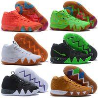 cadılar bayramı için ayakkabı toptan satış-Kyrie IV Yeşil Şanslı Takılar Mens 2018 Tüm Yeni Paskalya Cadılar Bayramı Basketbol Ayakkabı satılık 4 Spor ayakkabı