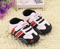 sangles pour marchettes achat en gros de-Nouveau Bébé Garçons Filles Toile Chaussures Haute Qualité Deux Bandes Nouveau-Né Bébé Toddler Mode Premiers Marcheurs Pour 0-18 Mois