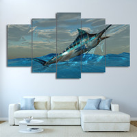 Wholesale framed fish pictures - Canvas Frame Modular Print Pictures 5 Pieces Jumping Marlin Tuna Fish Painting Wall Art Sailfish Posters Living Room Decoration