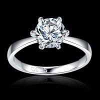 anéis de casamento ouro branco puro venda por atacado-Siliver puro 925 Clássico 1.2ct banhado a ouro branco grande CZ anéis de diamante Top Design 6 prong nupcial Anel de casamento para As Mulheres