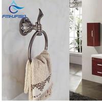 Wholesale towel rack bronze for sale - Group buy Elegant Antique Bronze Bathroom Towel Rack Holder Embossed Round Towel Ring Hanger Towel Bar