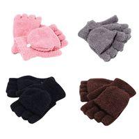 Wholesale cover girl hand for sale - Women s Winter Half Finger Gloves Coral Velvet Flip Cover Warmer Mittens Girl Student Hand Warmer Gloves TO994