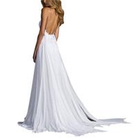 35ab1b617c49 Vestito da maglia in pizzo bianco con scollo a V profondo Sexy Abito da  spiaggia senza spalline elegante con scollo a barbeque Vestito da cerimonia  nuziale ...