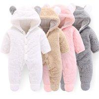 tek parça polar süveter toptan satış-Bebekler Bebek Kalın Kış Polar tulum Bahar Kızlar tek parça tulumlar yün Astar Panda Tasarımlar Pembe Giysi WUA872401