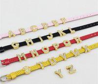 bracelets gold slide letters al por mayor-130 unids-260 unids 10mm A-Z Full Rhinestone Oro Color Slide Cartas Slide Encantos Fit 10mm DIY Pulsera Llavero Pulsera