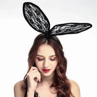 Wholesale red rabbit costume - Hot Lace Bunny Ear Headband Women Girls Rabbit Ears Hairband Headwear Headband wedding Christmas Party Favor