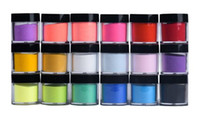 Wholesale acrylic nail powders pink resale online - 18 Colors Acrylic Nail Art Tips UV Gel Powder Dust Design Decoration D DIY Decoration Set