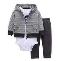 baby hose offen großhandel-Bodysuit Neugeborenes Baby Mädchen 3 Teile Set Kleidung Mit Kapuze Reißverschluss Volle Hülse Öffnen Stich Mantel + Volle Hülse Bodysuits + Blumendruck Hosen