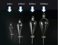 entonnoir de laboratoire achat en gros de-Pyriform Lab verre borosilicaté 60/250/500 / 1000ml entonnoir de séparation Entonnoir avec verre en verre laboratoire Science fournitures