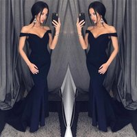 Wholesale Cheap Party Dresses For Women - Dark Navy 2018 Mermaid Prom Dresses Off Shoulder Simple Floor Length Formal Evening Party Gowns Custom Cheap Dress for Women