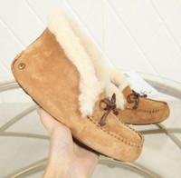 botas de mocasín de invierno al por mayor-Winter Warm Snowboots Lady Luxury Doubleface piel de oveja botas para la nieve EVA Sole Classic Mocasines Womens Casual Fitness Shoes Australia
