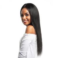 sıcak güzellik insan saçı toptan satış-Sıcak güzellik brezilyalı saç Simülasyon İnsan Saç Peruk uzun Ipeksi Düz Peruk Stokta Kadınlar Için