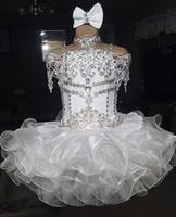 11 yaş için cupcake pageant elbiseleri toptan satış-Beyaz dantel boncuklu halter kısa kollu yay organze balo cupcake yürüyor küçük kızlar alayı elbiseler çiçek kızlar için düğün glitz