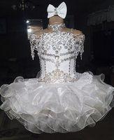 ingrosso abiti da sposa da cupcake per 11-Pizzo bianco perline halter manica corta organza ball gown cupcake bambina bambine pageant abiti flower girls per matrimoni glitz