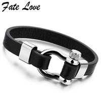 9adfd481901b Joyería de moda Pulsera de cuero de los hombres de acero inoxidable marca  para hombre accesorios de joyería hecho a mano negro pulseras brazaletes  Pulseras