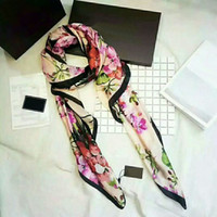 schals box großhandel-Großhandel Europäischen Stil Hohe Qualität 100% Seide Schal Dame Designer Schal Sommer dünne schal 90 * 180 cm mit box