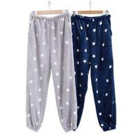 sıcak uyku pijama toptan satış-Sıcak Satış Kış Flanel Erkek Uyku Dipleri Kalınlaşmak Sıcak Sheer Erkek Pijama Pantolon Konfor Slacks Yıldız Uyku Pijama Pantolon Erkekler