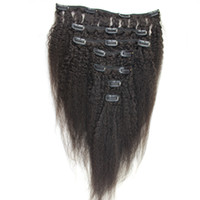 clip human hair extensions remy 24 UK - 8 Pieces And 120g Coarse Yaki Machine Made Remy Kinky straight Clip In Human Hair Extensions 100% Human Hair Natural Black