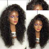 Wholesale Dark Blonde Medium Wig - Wholesale Soft 1b# Natural Looking Black Long Kinky Curly Wigs Synthetic Heat Resistant Glueless Lace Front Wigs for Black Women