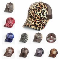 Wholesale free snaps - 9 color Leopard Print Summer Ponytail Baseball Cap Mesh Hats For Women Messy Bun Casual Hip Hop Snap back sports cap KKA5556