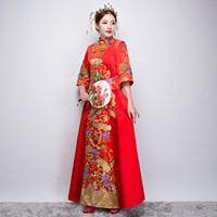 b74cda5d4 Vestido tradicional rojo Novia Vestido de novia chino de manga corta  Cheongsam Qipao Vestido Vestidos de estilo oriental