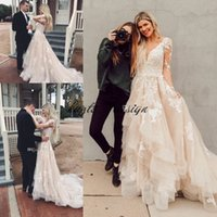 Wholesale simple layered wedding dresses resale online - Boho Lace Wedding Dresses Layered Tulle Appliques A Line Bridal Dresses Illusion Sleeves Rustic Country Wedding Gowns Backless