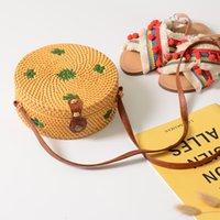 ingrosso imballaggio per cannucce-Borse a tracolla da donna Pacchetto di tessuto manuale Borse di paglia rotonde Cerchio Borsa da spiaggia Borsa da viaggio per vacanza in spiaggia