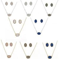 beste silber silberschmuck großhandel-Druzy Drusy Halskette Ohrringe Schmuck Set Silber / Gold Geometrie Oval Halsketten Beste für Dame New York Marke Schmuck