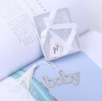 ayı imi toptan satış-Metal bebek duş bookmarks püsküller baykuş kalp ayı mavi tasarım favor toptan düğün hediyeleri 24 adetgrup ücretsiz kargo