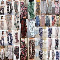 pantalones sueltos de yoga de pierna ancha al por mayor-Pantalones de palazzo de yoga floral para mujer 27 estilos Pantalones de pierna ancha de verano Pantalones de harén deportivos sueltos Pantalones largos de Boho Pantalones largos de Marternity 6 piezas OOA5197