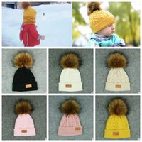 Wholesale bobble knitting wool for sale - 7 color baby Pom pom Beanie Kids Warm Winter Crochet Ski Cap Wool Knit Beanie Fur Bobble Hat Fashion Kids cap KKA5880
