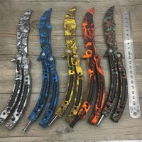 Wholesale edge training knives - non Automatic knives Butterfly in knife training stainless steel knife CS GO knife Counter Strike game folding no edge dull tool