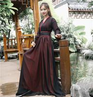 çin ulusal kostüm kadınları toptan satış-2018 yaz hanfu ulusal kostüm antik çin cosplay kostüm antik çinli kadın hanfu elbise bayan sahne elbise