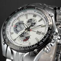 бесплатная поставка оптовых-2016 Curren Dial Water Quartz Hours Date Silver Hand Sport Men Steel Wrist Watch top  Mens watches Free shipping M926L