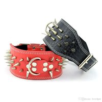 frei spiked hundehalsband großhandel-A41 Haustier Halsband Hundehalsband Haustier Leder Kragen / w Spike Design für große Hunde Qualität freies Verschiffen