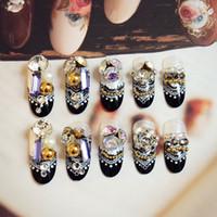 ingrosso set completo di gioielli-24pcs / set Vacanza 3D Black Lace Jewellery Fake Nail Diamond Diamond Full Post Donna Wedding Nail nuziale Z02