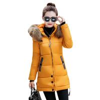Wholesale womens green parka warm online - Womens Winter Warm Down Coat Faux Fur Hooded Parka Puffer Jacket Long Overcoat Female Outerwear Freeshipping