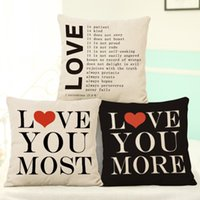 Wholesale Simple Linen Cushion Cover - Lovers Pillow Case Simple Valentine's Day Gifts Flax Pillowcases Home Bedroom Decor Sofa Cushions Cover 44*44cm