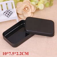 black playing cards Canada - Mini Black Tin Box Small Empty Metal Storage Box Case Organizer For Money Coin Candy Keys Playing Card Gift Box