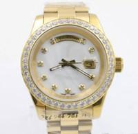 data da concha venda por atacado-2019 Luxo Mens Watch DIA DATA Diamante Bisel Shell Dial Movimento Automático de Safira Mecânica de Vidro de Aço Inoxidável Relógios Homens de Ouro