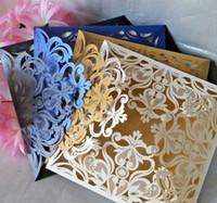 Wholesale folded silver wedding invitation card resale online - Premium Quality Laser Cut Wedding Invitations Card Insert Envelope Pear Ivory Blue Gold Black