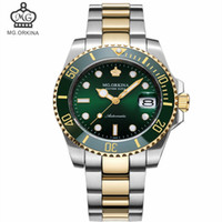 водонепроницаемые часы оптовых-MG ORKINA Men's Luxury Mechanical Watch with Waterproof & Calendar Ceramic Bezel Top Automatic Watches Famous Brand Men Clock
