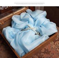 ingrosso pashminas blu-Acqua blu 100% seta sciarpe quadrate e scialli tour de cou echarpe poncho e mantelle inverno caldo echarpe enfant pashmina