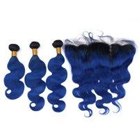 en iyi saç paketleri toptan satış-En iyi Brezilyalı Vücut Dalga İnsan Saç Ombre İnsan Saç Örgü Demetleri Ile Frontal 3 Demetleri ile 1B Mavi Ombre Uzantıları 13 * 4 Frontal