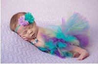 Wholesale Baby Girl Photography Outfits - Newborn Photo Props Cute Baby Girl Princess Costume Outfit Colorful Tutu Skirt Flower Headband Infant Photography Props