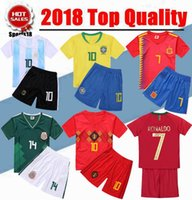 Wholesale football collar - 2018 Kids kit Brazil Argentina Belgium Spain Colombia Mexico soccer jersey World Cup 2019 youth boy kit national team football soccer shirt