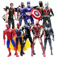 Wholesale deadpool marvel heroes - 10pcs lot Marvel Action Figures Heroes Spiderman Ironman Superman Hawkeye Bat man hulk deadpool captain america figurines figuras de acción